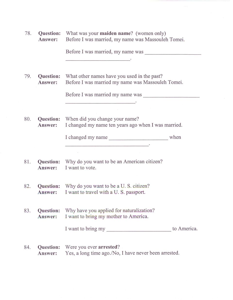 Typical n 400 questions and answers pdf i changed my name ten years ago when i was married i changed my name falaconquin