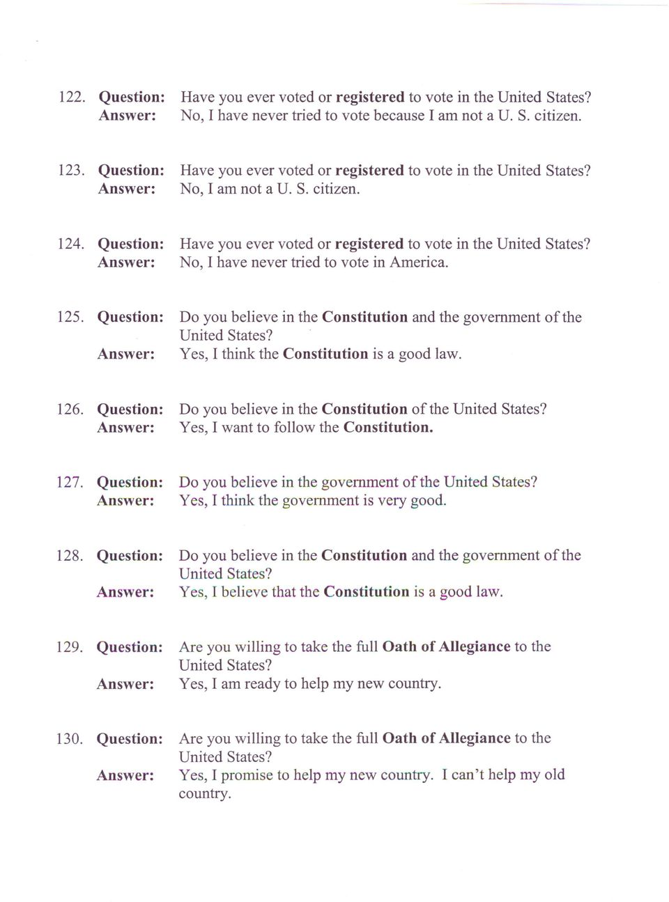 Typical n 400 questions and answers pdf yes i think the constitution is a good law 126 do you believe falaconquin