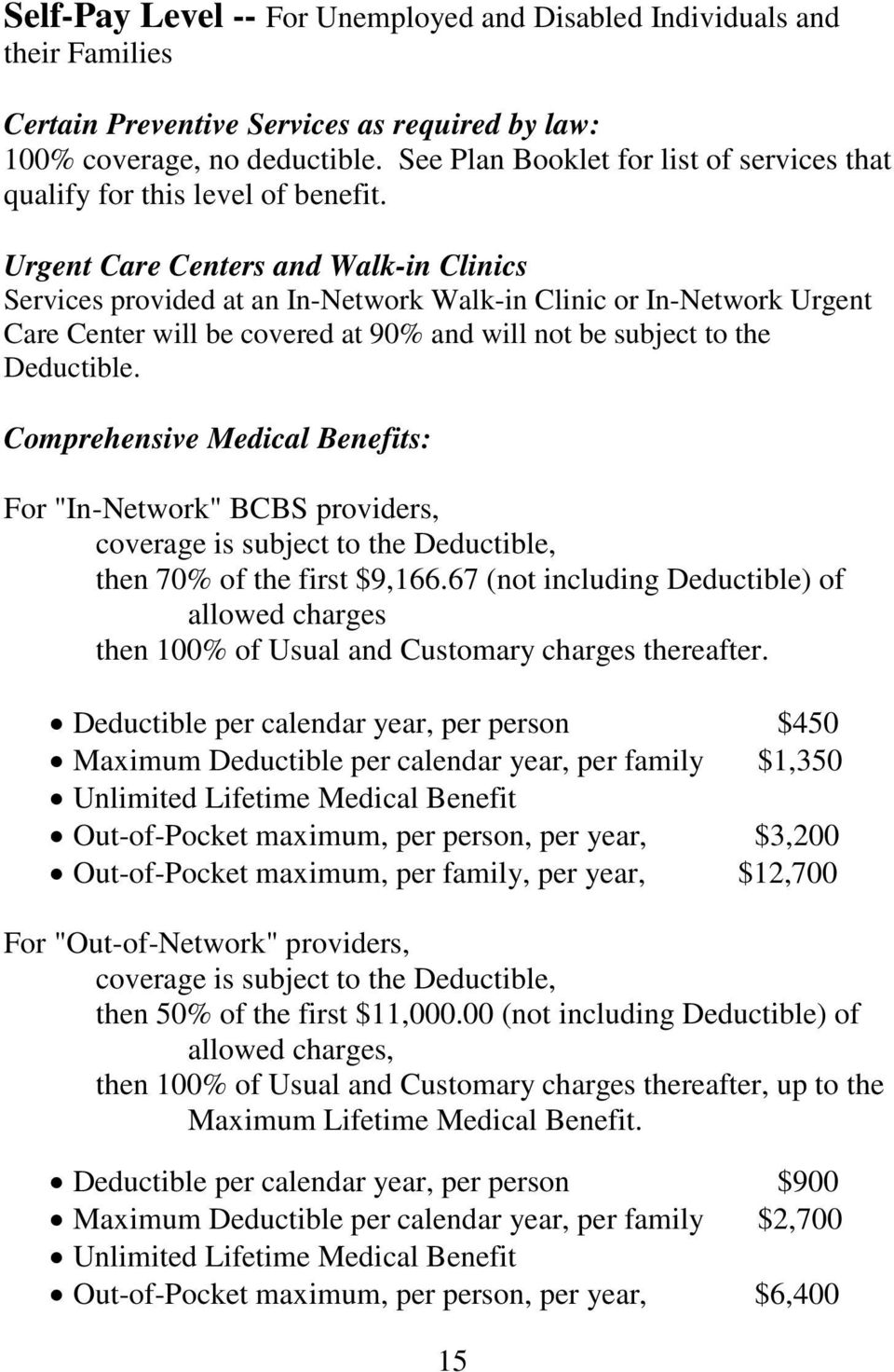 Urgent Care Centers and Walk-in Clinics Services provided at an In-Network Walk-in Clinic or In-Network Urgent Care Center will be covered at 90% and will not be subject to the Deductible.