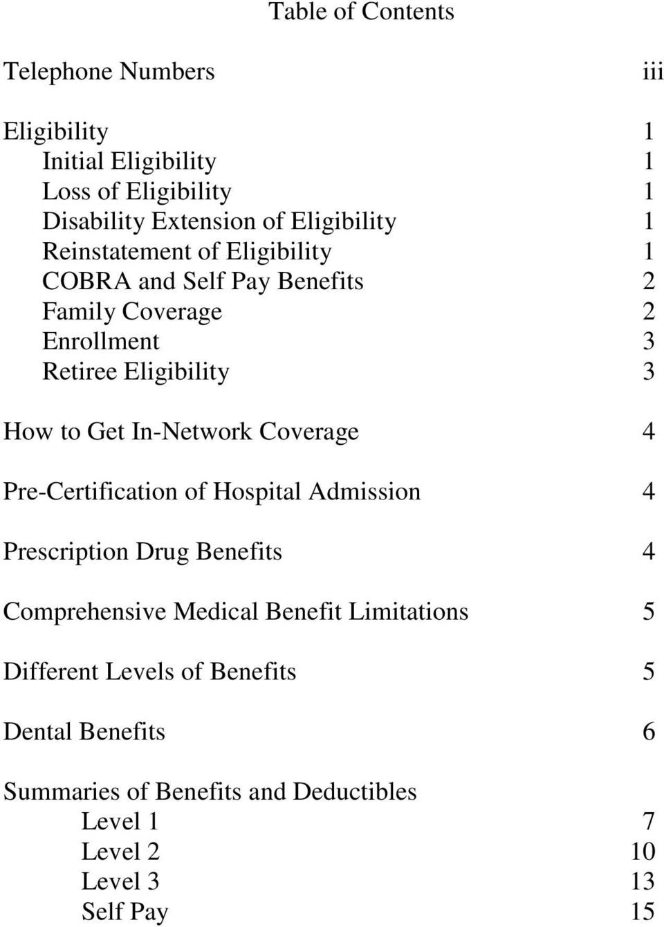 to Get In-Network Coverage 4 Pre-Certification of Hospital Admission 4 Prescription Drug Benefits 4 Comprehensive Medical Benefit