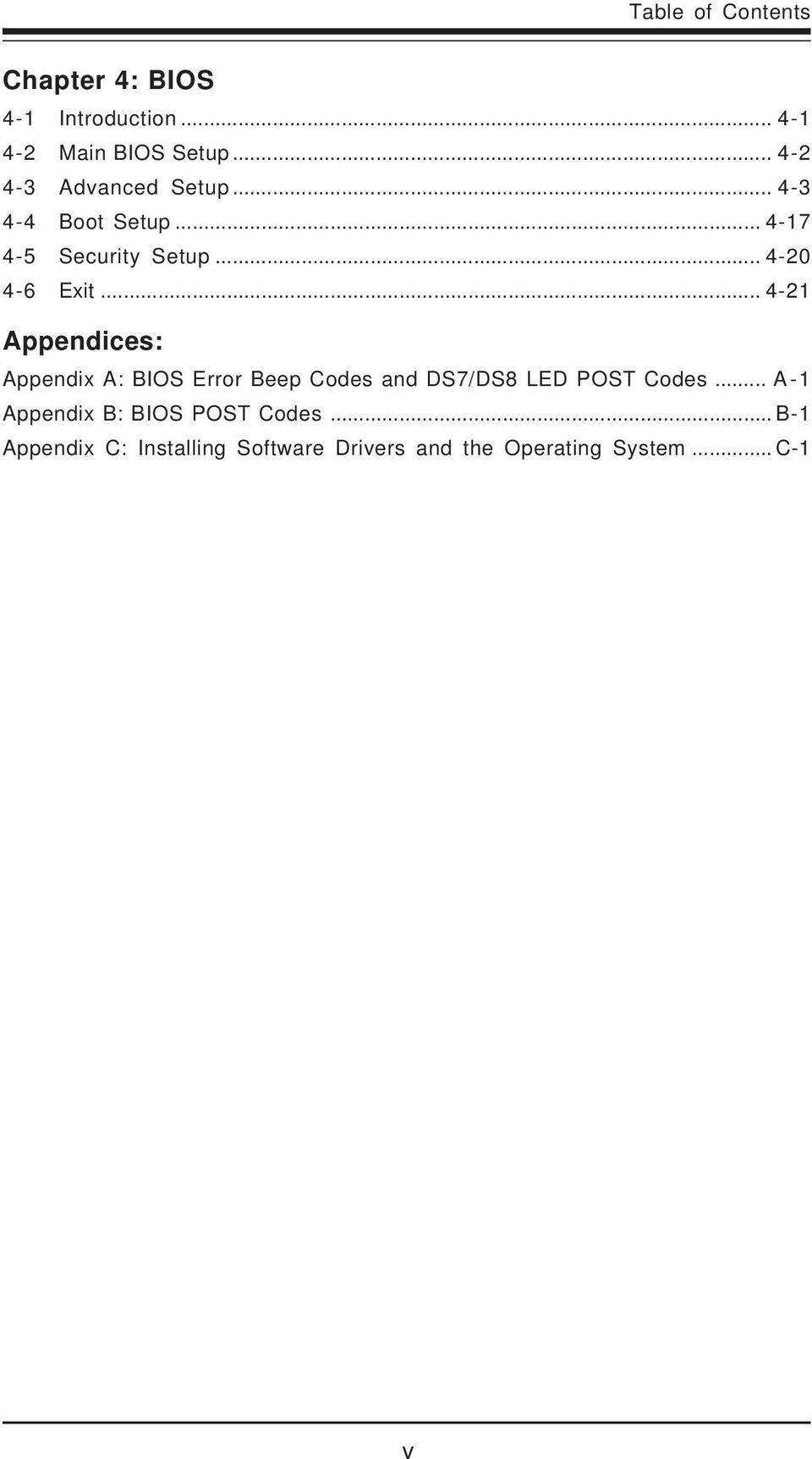 .. 4-21 Appendices: Appendix A: BIOS Error Beep Codes and DS7/DS8 LED POST Codes.