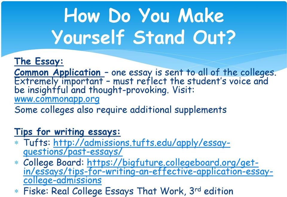 org Some colleges also require additional supplements Tips for writing essays: Tufts: http://admissions.tufts.