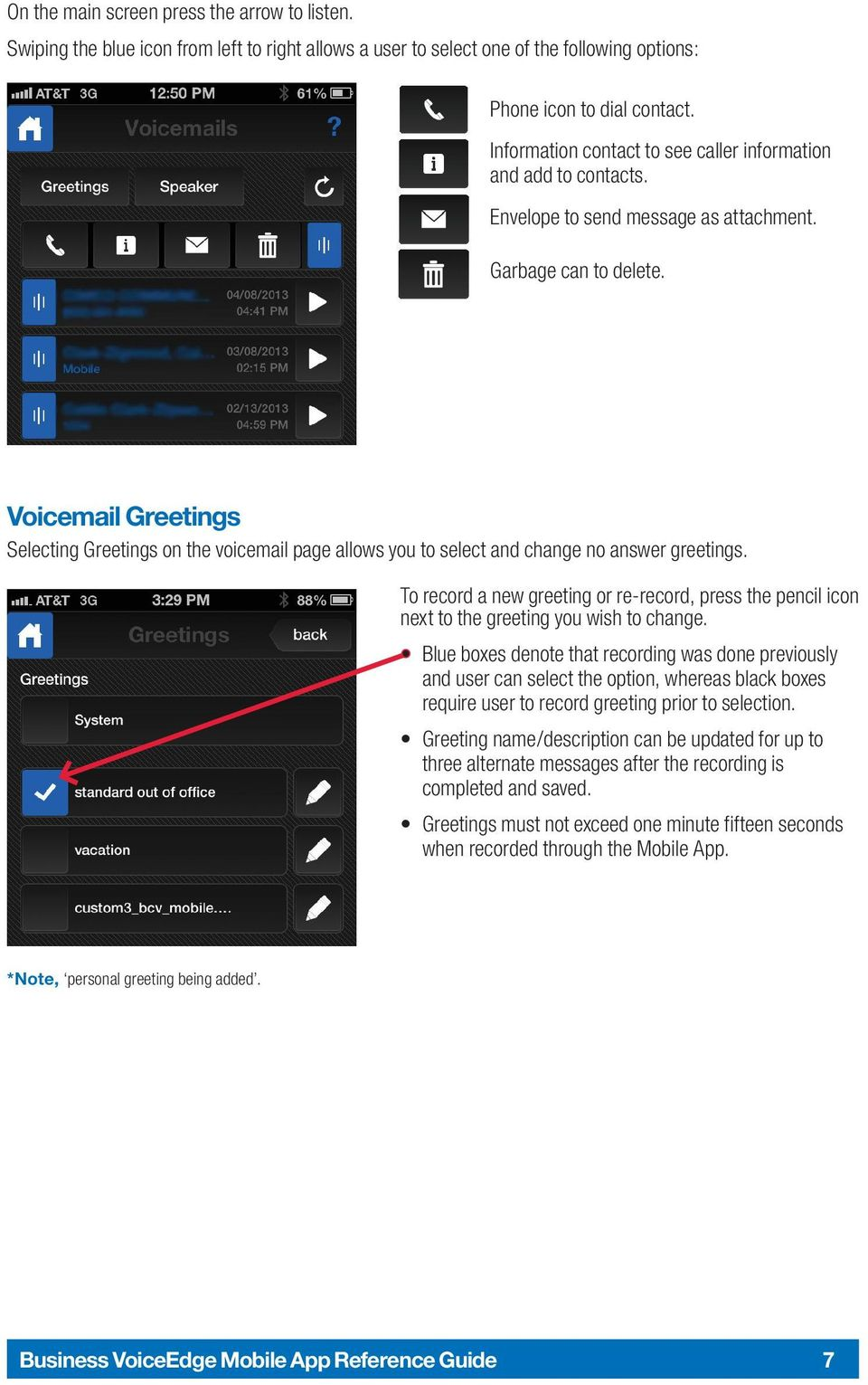 The comcast business voiceedge mobile app a quick start setup guide voicemail greetings selecting greetings on the voicemail page allows you to select and change no answer kristyandbryce Gallery