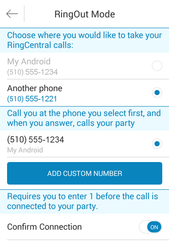 Mobile App Guide My Mobile App Settings Caller ID To set the number you want people to see when you place calls, tap Caller ID. Choose from among your RingCentral company phone numbers.