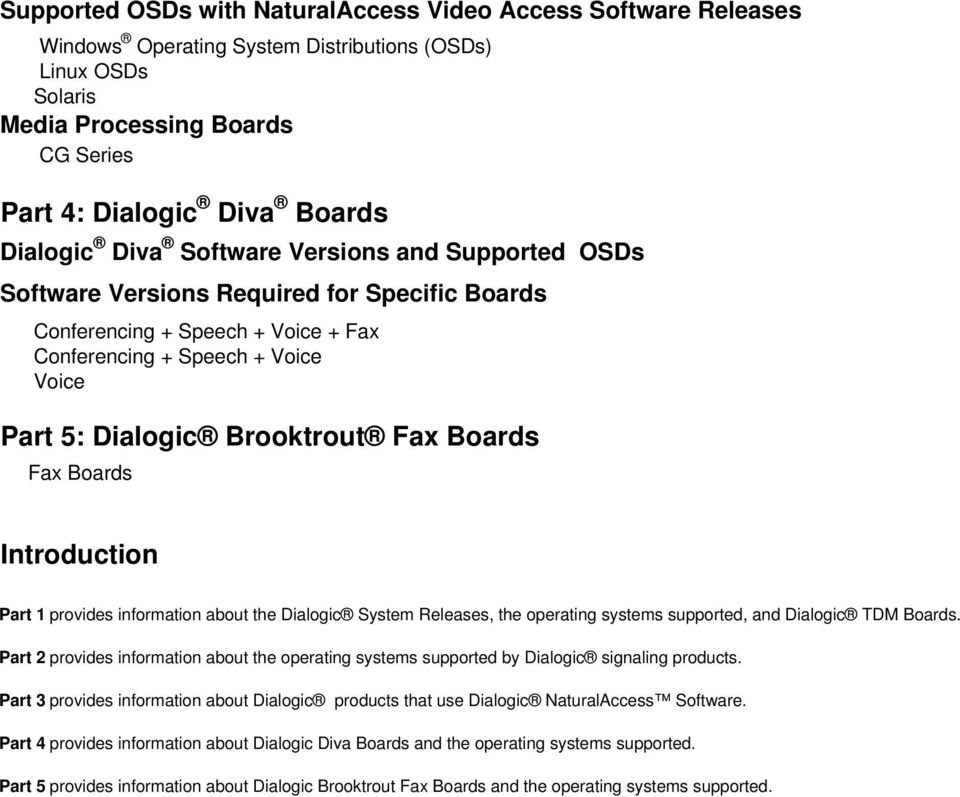 Boards Introduction Part 1 provides information about the Dialogic System Releases, the operating systems supported, and Dialogic TDM Boards.