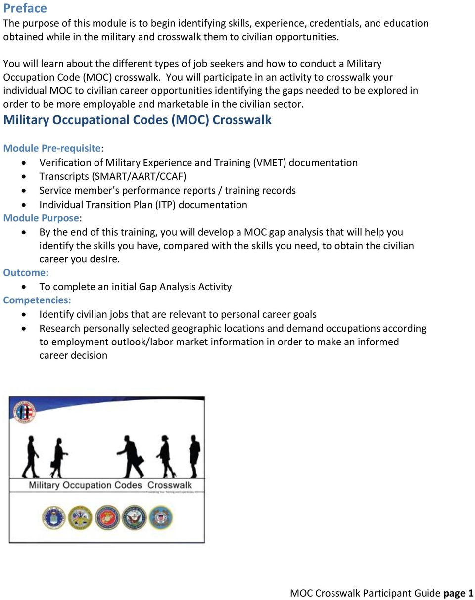 veterans employment center pdf you will participate in an activity to crosswalk your individual moc to civilian career opportunities identifying