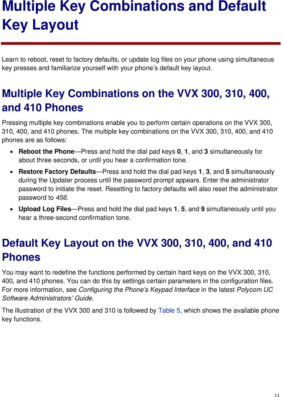 Multiple Key Combinations on the VVX 300, 310, 400, and 410 Phones Pressing multiple key combinations enable you to perform certain operations on the VVX 300, 310, 400, and 410 phones.
