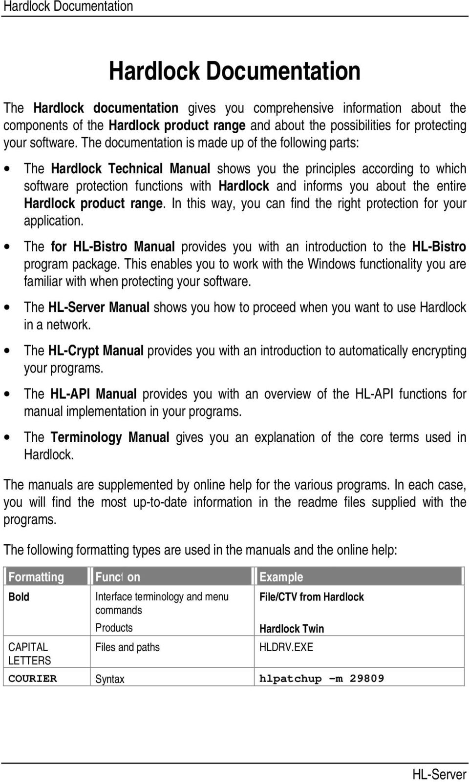 The documentation is made up of the following parts: The Hardlock Technical Manual shows you the principles according to which software protection functions with Hardlock and informs you about the