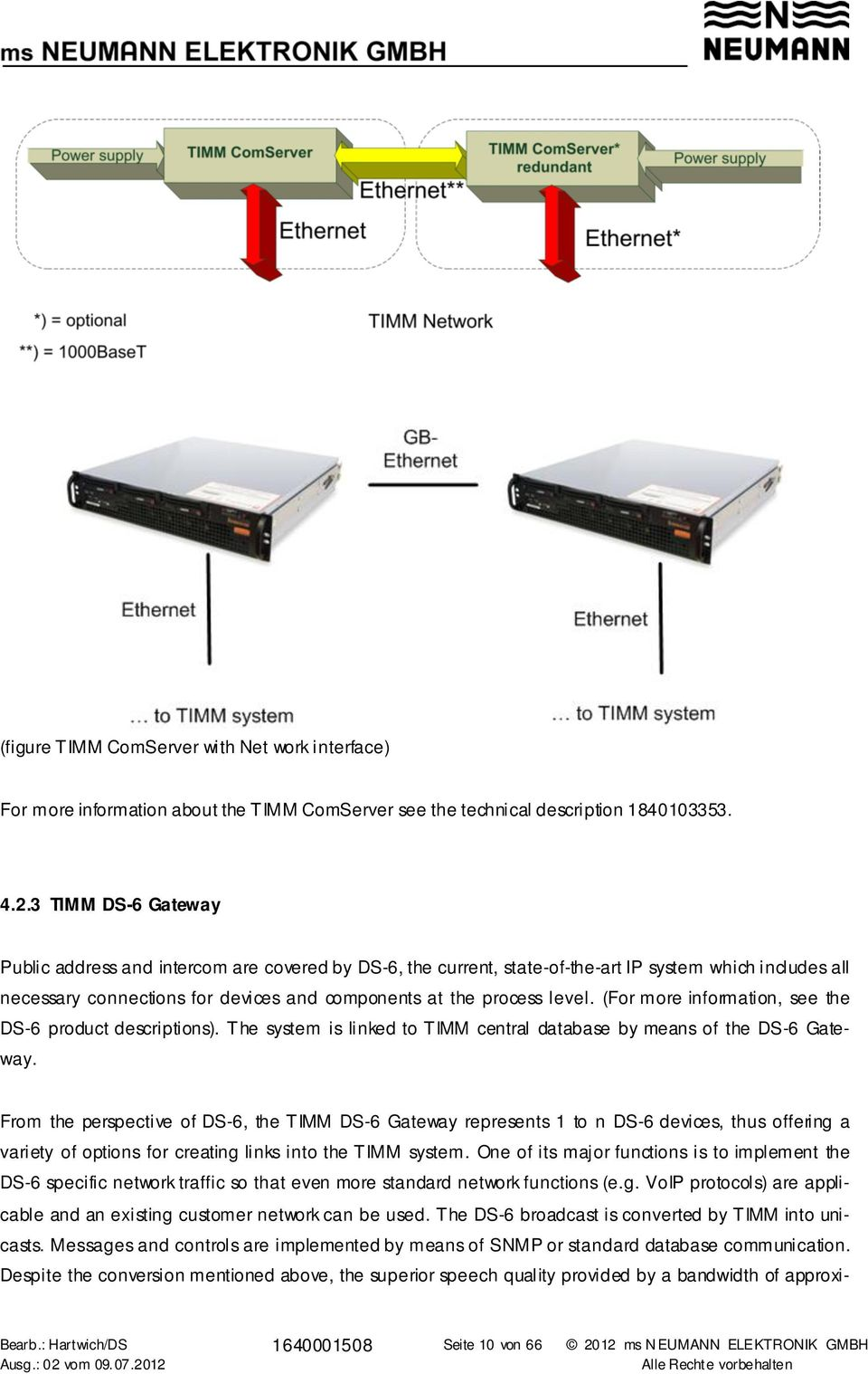 (For more information, see the DS-6 product descriptions). The system is linked to TIMM central database by means of the DS-6 Gateway.