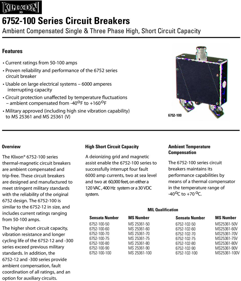 approved (including high sine vibration capability) to MS 25361 and MS 25361 (V) 6752-100 Overview The Klixon 6752-100 series thermal-magnetic circuit breakers are ambient compensated and trip-free.