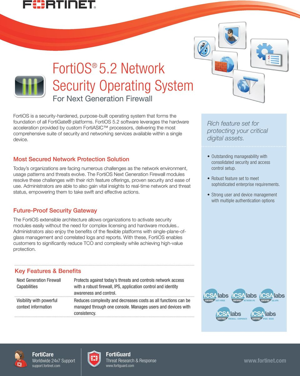 2 software leverages the hardware acceleration provided by custom FortiASIC processors, delivering the most comprehensive suite of security and networking services available within a single device.