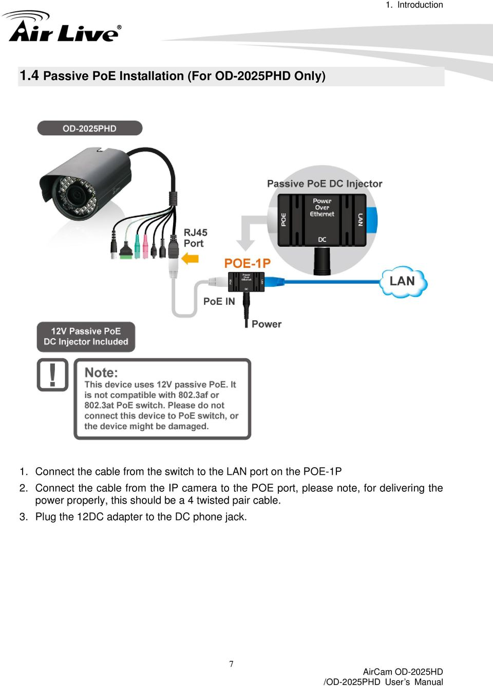 Connect the cable from the IP camera to the POE port, please note, for delivering
