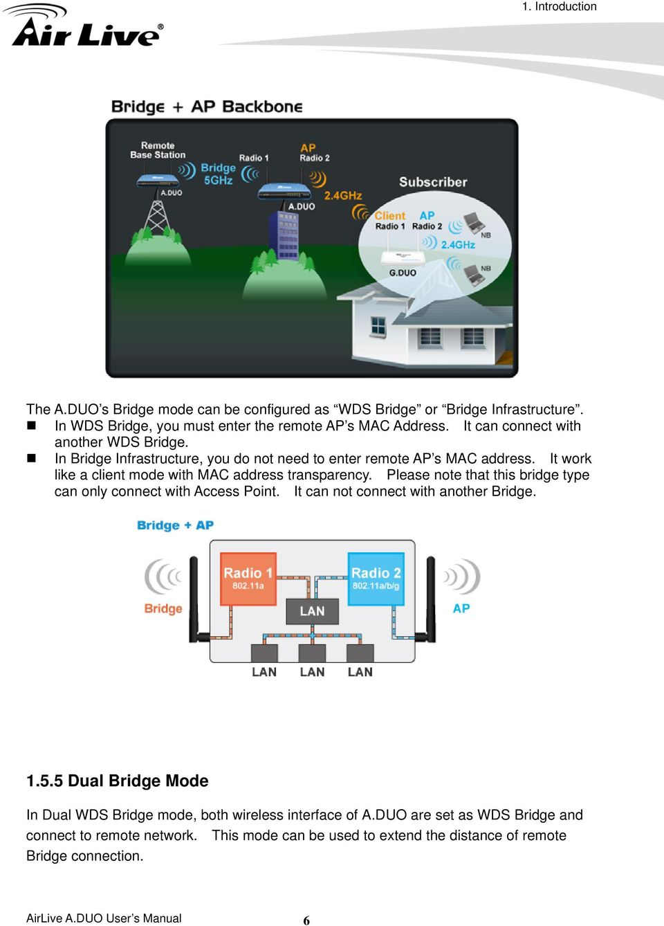 It work like a client mode with MAC address transparency. Please note that this bridge type can only connect with Access Point. It can not connect with another Bridge. 1.