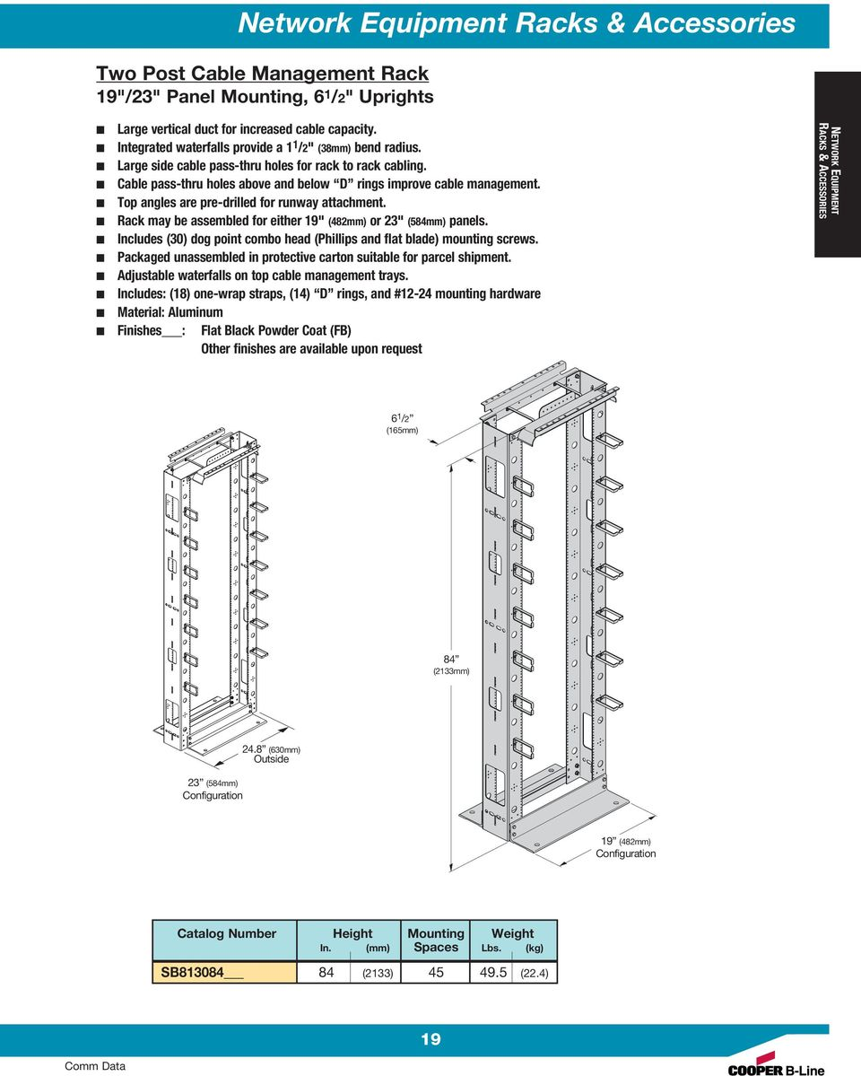 "Rack may be assembled for either 19"" (482mm) or 23"" (584mm) panels. Includes (30) dog point combo head (Phillips and flat blade) mounting screws."