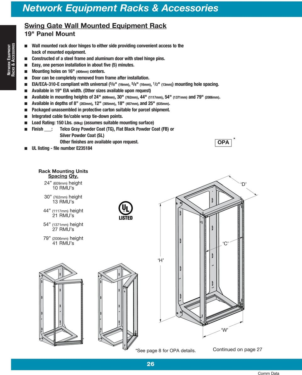"Door can be completely removed from frame after installation. EIA/ECA-310-E compliant with universal ( 5 /8"" (16mm), 5 /8"" (16mm), 1 /2"" (13mm)) mounting hole spacing. Available in 19"" EIA width."