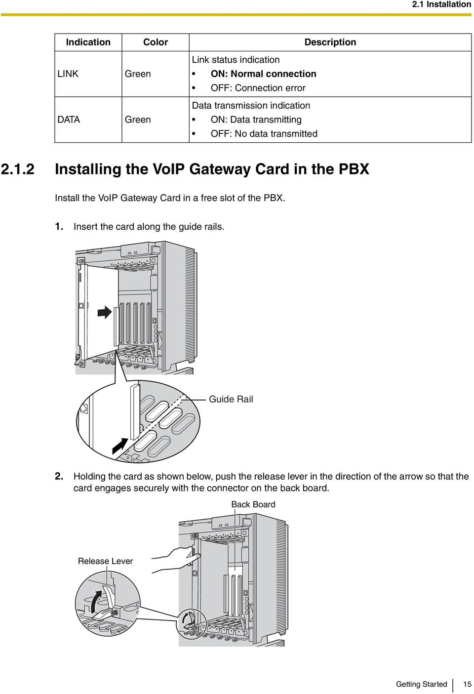 2 Installing the VoIP Gateway Card in the PBX Install the VoIP Gateway Card in a free slot of the PBX. 1. Insert the card along the guide rails.