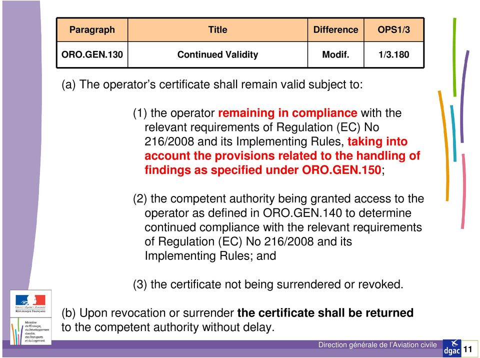 Implementing Rules, taking into account the provisions related to the handling of findings as specified under ORO.GEN.