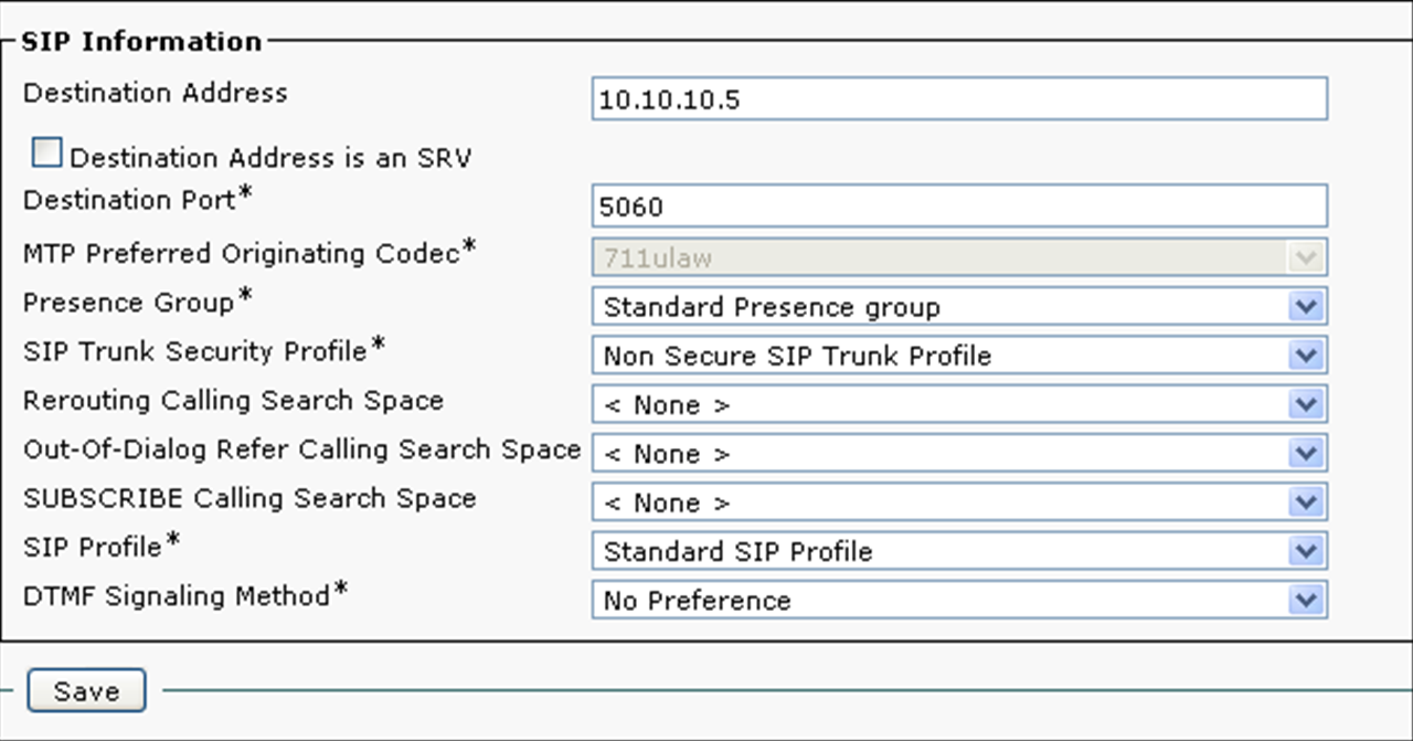 Figure 5 Call Manager Route Configuration The Cisco Call Manager still requires setting changes. The Route Configuration needs to be setup properly.
