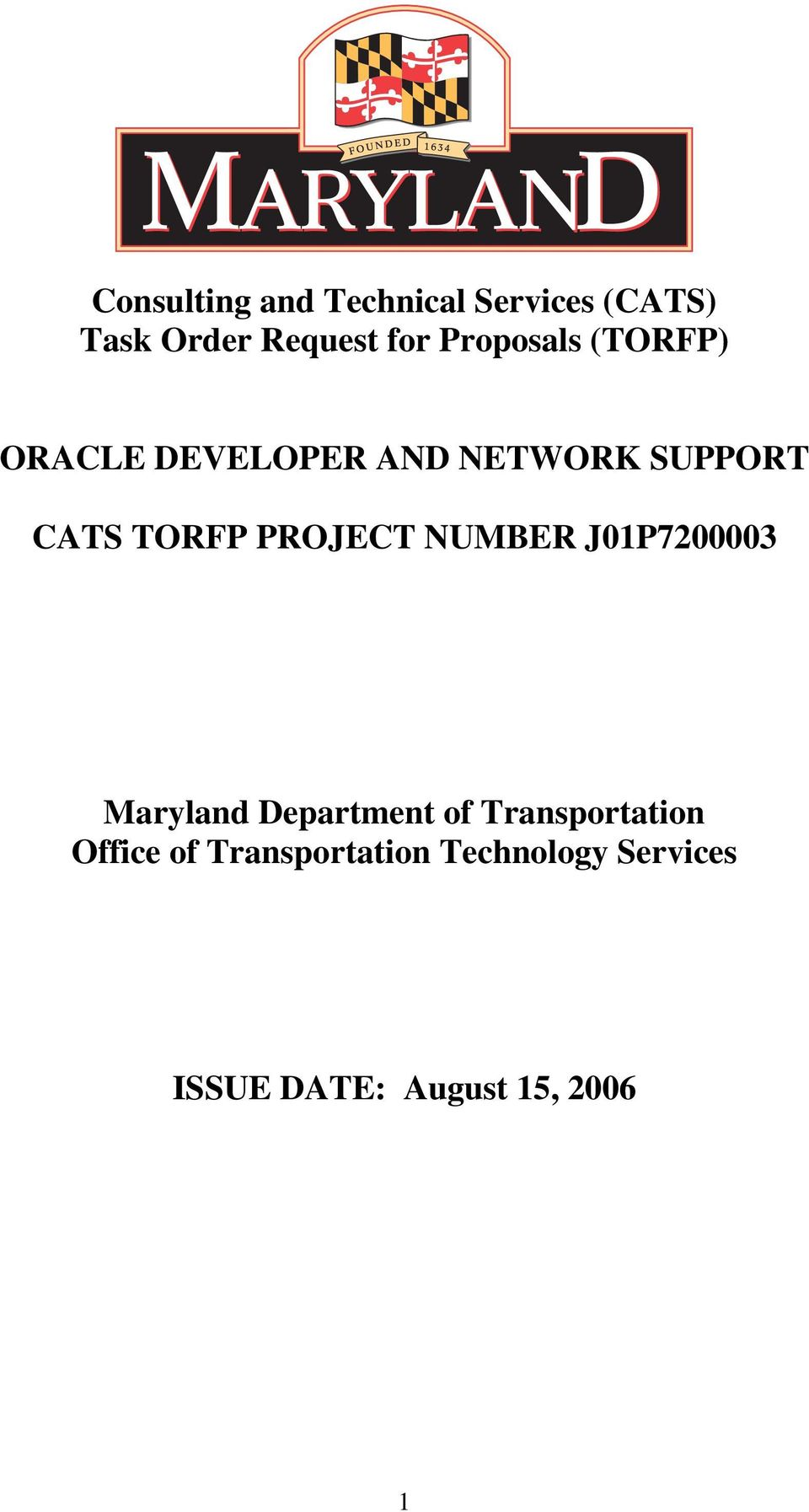 PROJECT NUMBER J01P7200003 Maryland Department of Transportation