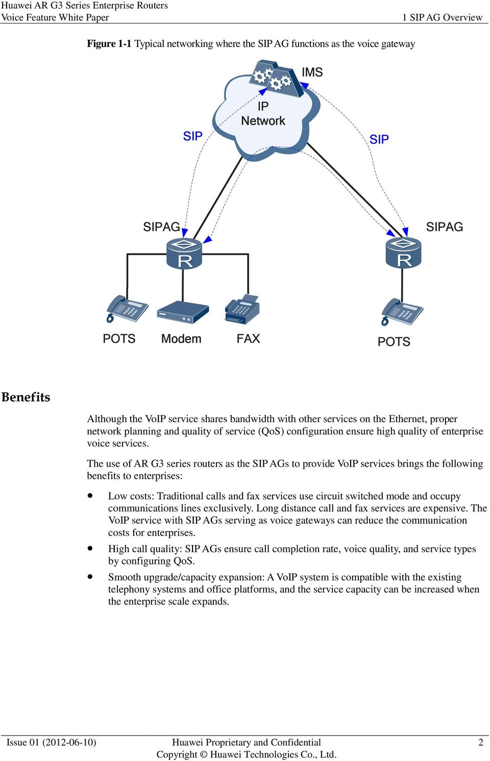 The use of AR G3 series routers as the SIP AGs to provide VoIP services brings the following benefits to enterprises: Low costs: Traditional calls and fax services use circuit switched mode and