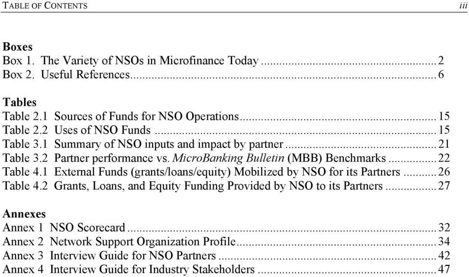 1 External Funds (grants/lans/equity) Mbilized by NSO fr its Partners...26 Table 4.2 Grants, Lans, and Equity Funding Prvided by NSO t its Partners.