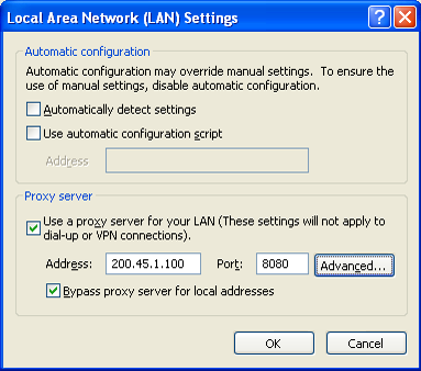4.4.1 Registering IP Telephones 6. a. Click the Connections tab. b. Select Never dial a connection if necessary. c. Click LAN Settings. 7.