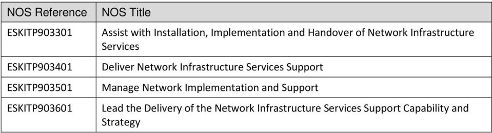 Deliver Network Infrastructure Services Support Manage Network Implementation and