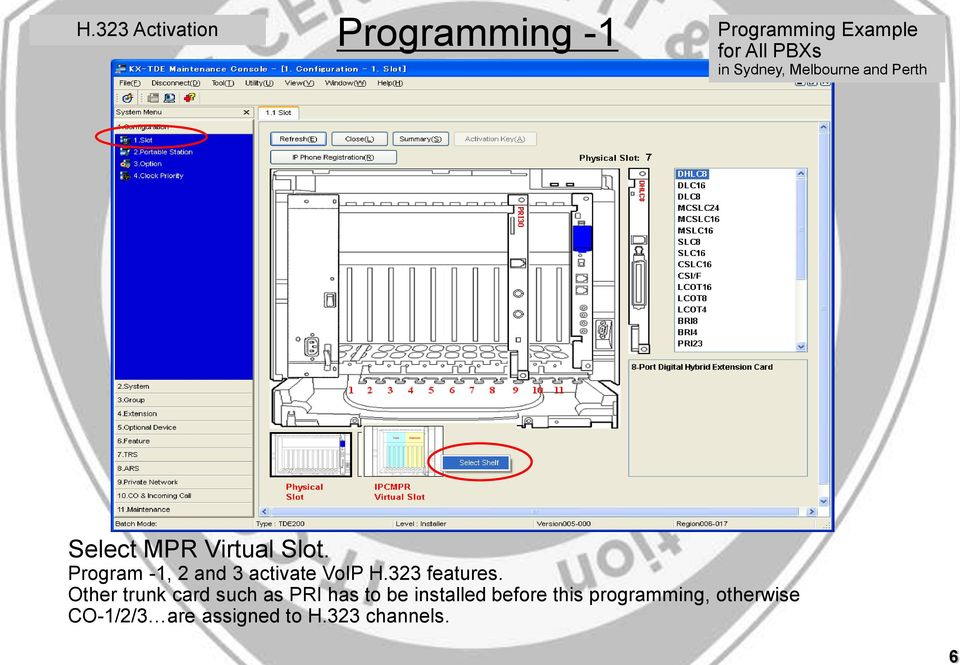 MPR Virtual Slot. Program -1, 2 and 3 activate H.323 features.