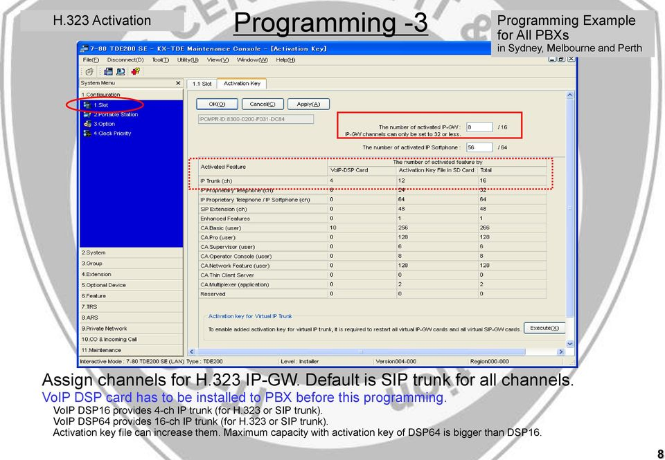 DSP card has to be installed to PBX before this programming. DSP16 provides 4-ch IP trunk (for H.