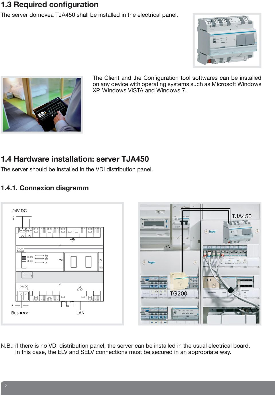 Windows 7..4 Hardware installation: server TJA450 The server should be installed in the VDI distribution panel..4.. Connexion diagramm 24V DC TJA450 0V DC - + TG200 Bus LAN N.