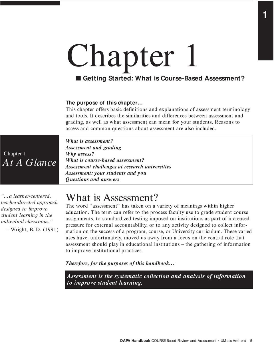 Reasons to assess and common questions about assessment are also included. What is assessment? Assessment and grading Why assess? What is course-based assessment?