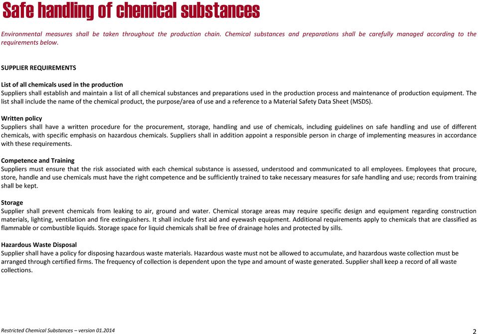 Restricted Chemical Substances  Version - PDF