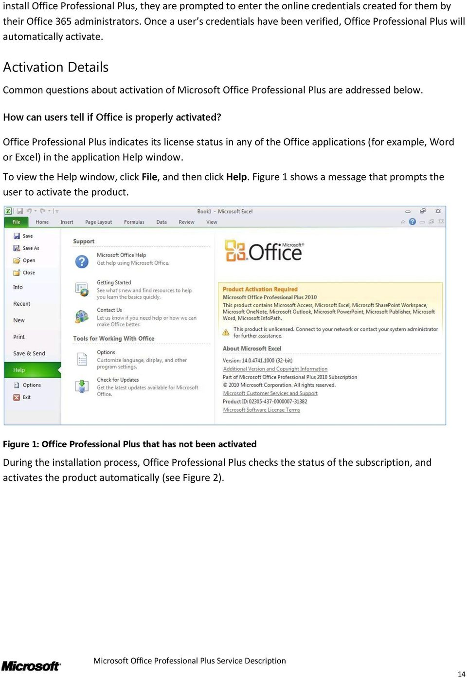 Activation Details Common questions about activation of Microsoft Office Professional Plus are addressed below. How can users tell if Office is properly activated?