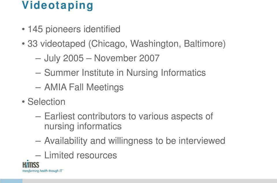 AMIA Fall Meetings Selection Earliest contributors to various aspects of