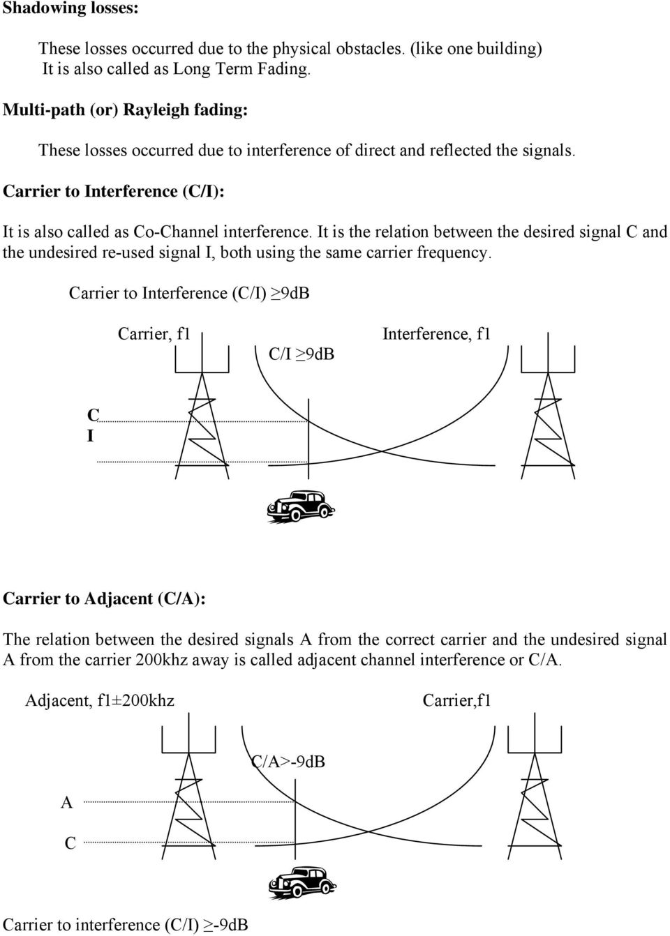 It is the relation between the desired signal C and the undesired re-used signal I, both using the same carrier frequency.