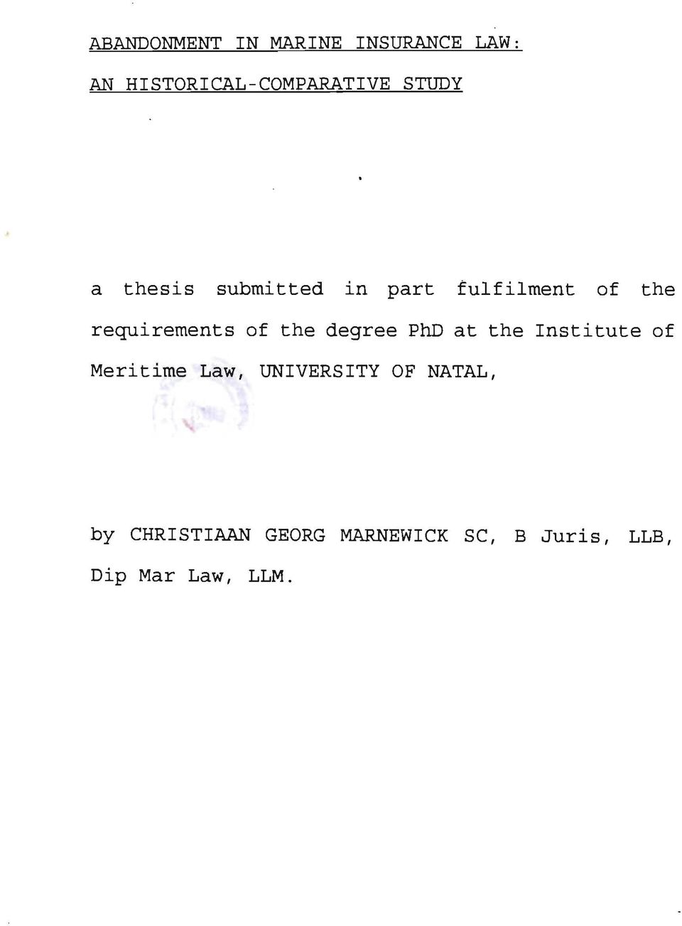 thesis on insurance law Mltannan, revised by : banking law and practice, wadhwa & company, nagpur  salient features of deposit insurance 97 nomination 98 settlement of claims 98.