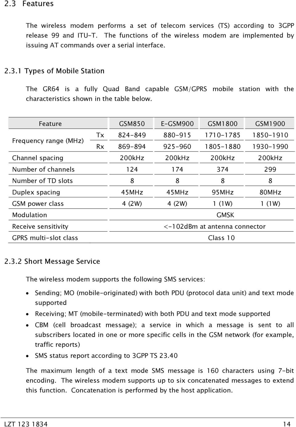 1 Types of Mobile Station The GR64 is a fully Quad Band capable GSM/GPRS mobile station with the characteristics shown in the table below.