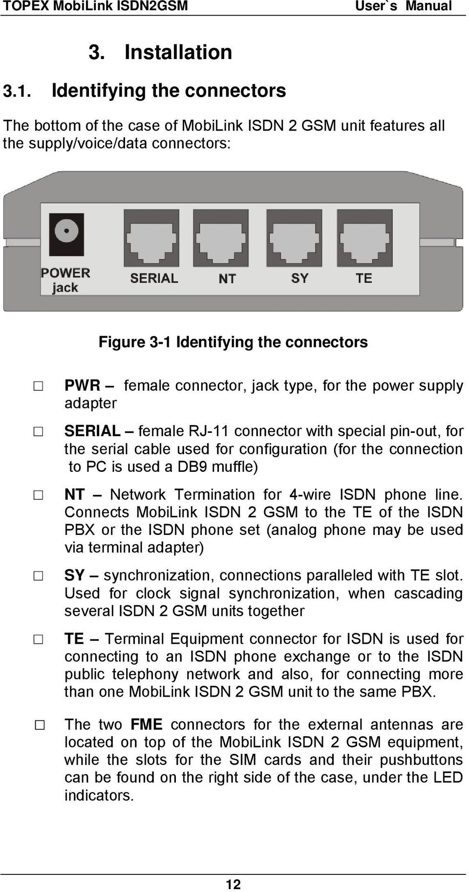 the power supply adapter SERIAL female RJ-11 connector with special pin-out, for the serial cable used for configuration (for the connection to PC is used a DB9 muffle) NT Network Termination for