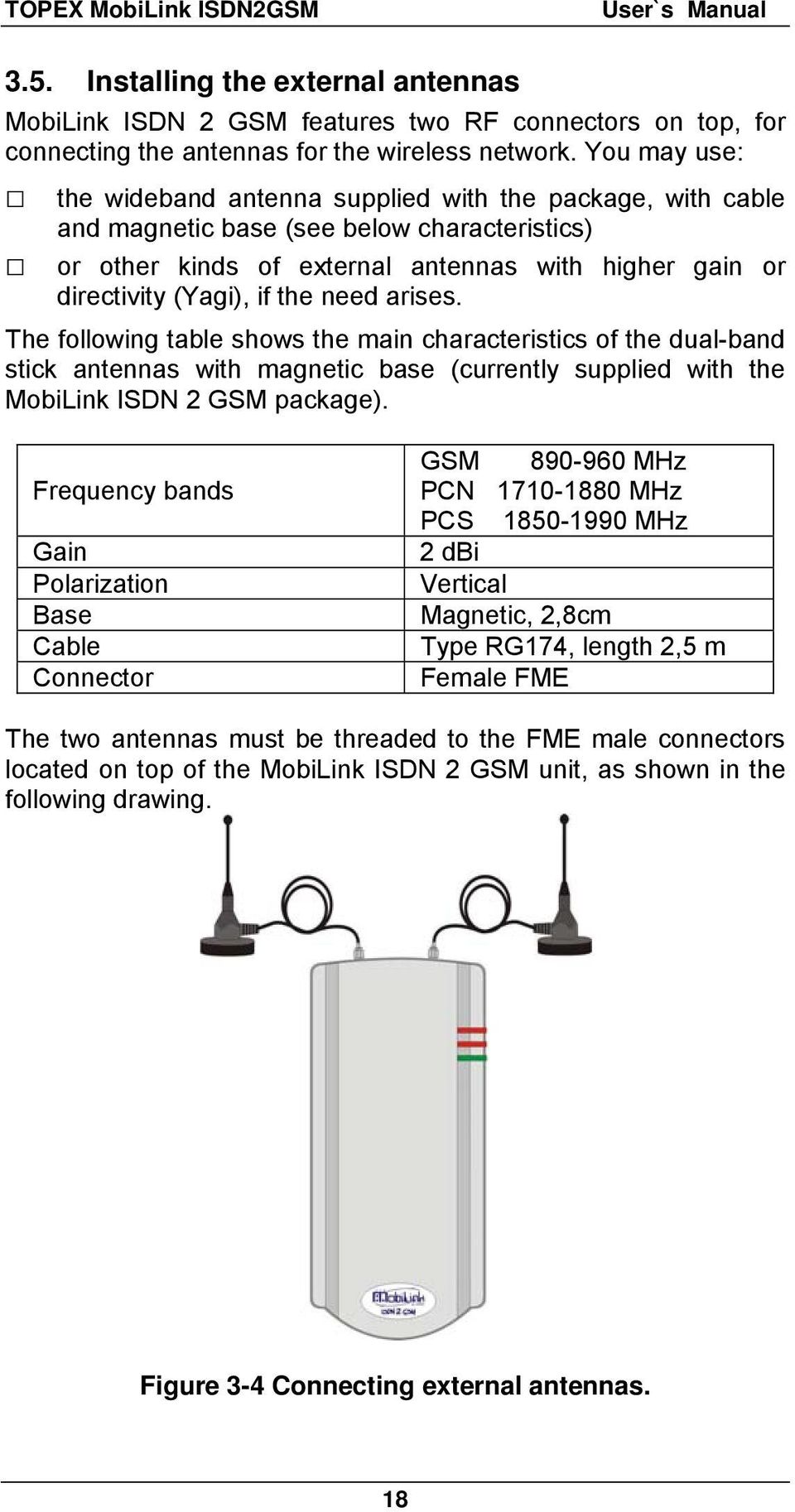 the need arises. The following table shows the main characteristics of the dual-band stick antennas with magnetic base (currently supplied with the MobiLink ISDN 2 GSM package).