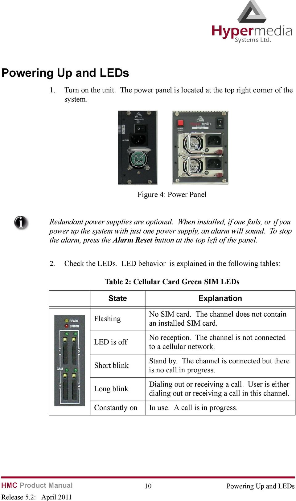 Check the LEDs. LED behavior is explained in the following tables: Table 2: Cellular Card Green SIM LEDs State Flashing LED is off Short blink Long blink Constantly on Explanation No SIM card.