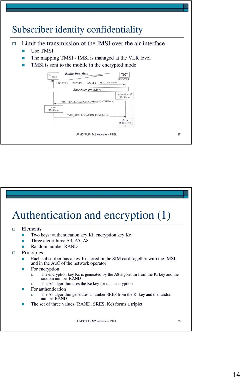 algorithms: A3, A5, A8 Random number RAND Principles Each subscriber has a key Ki stored in the SIM card together with the IMSI, and in the AuC of the network operator For encryption The encryption