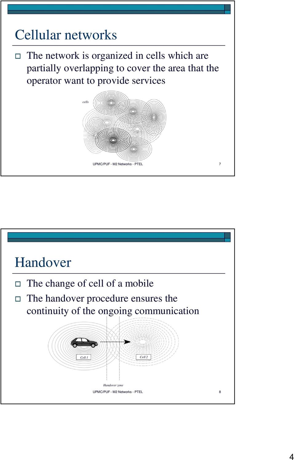 PTEL 7 Handover The change of cell of a mobile The handover procedure ensures the