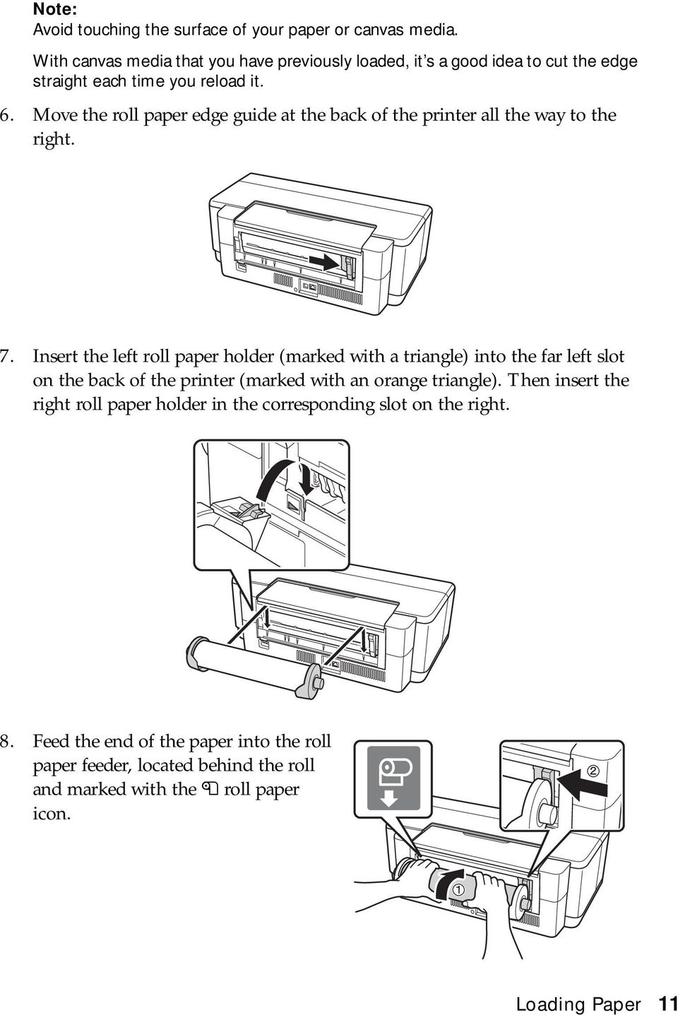 Move the roll paper edge guide at the back of the printer all the way to the right. 7.
