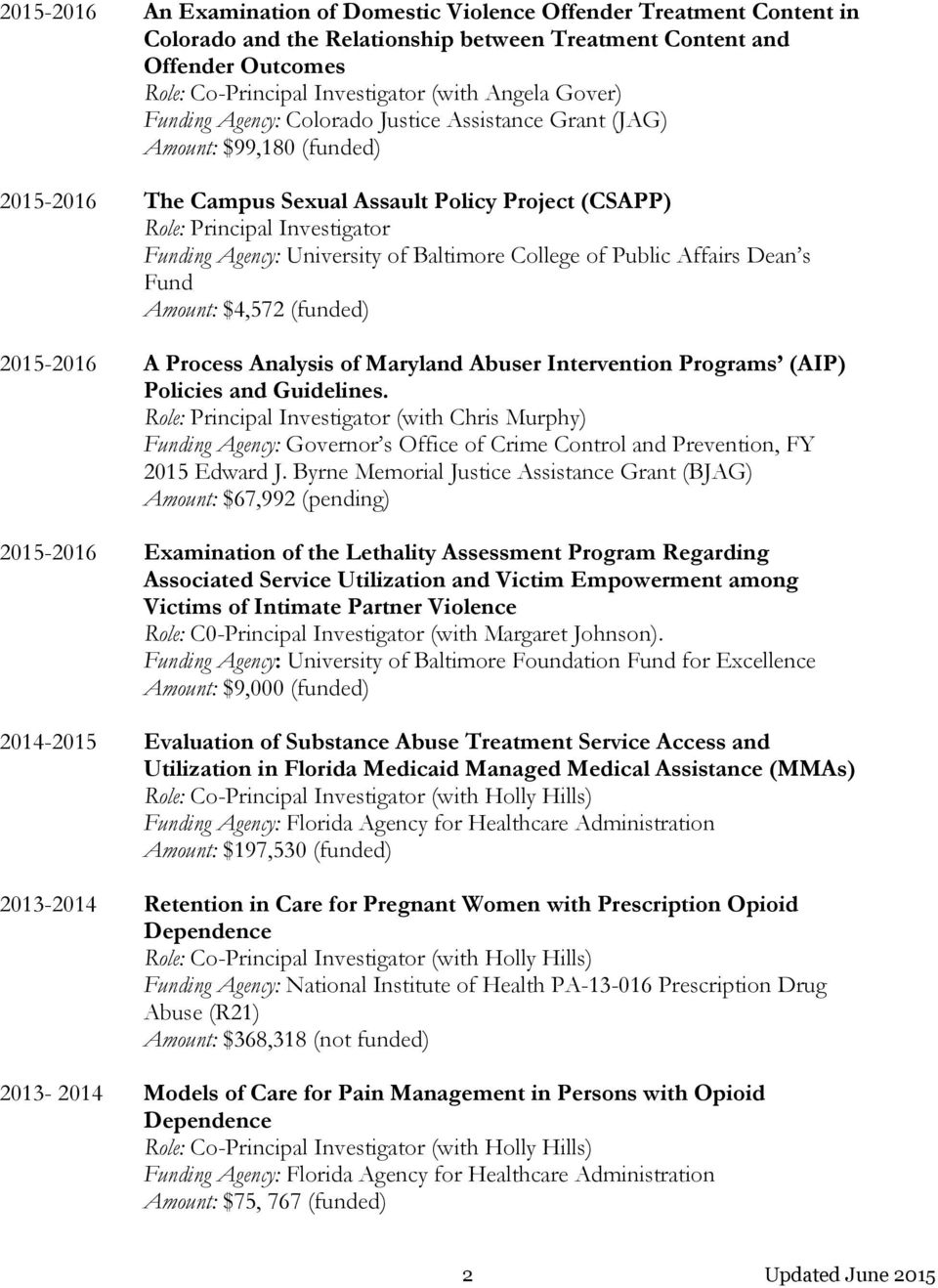 University of Baltimore College of Public Affairs Dean s Fund Amount: $4,572 (funded) 2015-2016 A Process Analysis of Maryland Abuser Intervention Programs (AIP) Policies and Guidelines.