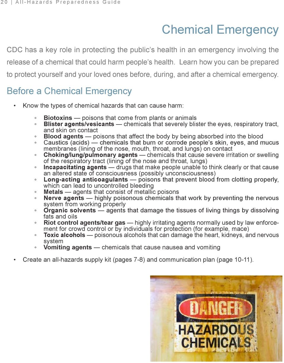 Before a Chemical Emergency Know the types of chemical hazards that can cause harm: Biotoxins poisons that come from plants or animals Blister agents/vesicants chemicals that severely blister the