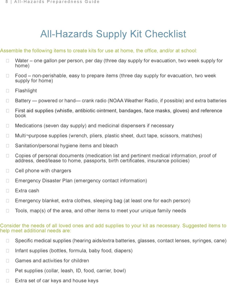 crank radio (NOAA Weather Radio, if possible) and extra batteries First aid supplies (whistle, antibiotic ointment, bandages, face masks, gloves) and reference book Medications (seven day supply) and