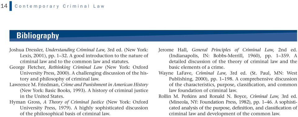 A challenging discussion of the history and philosophy of criminal law. Lawrence M. Friedman, Crime and Punishment in American History (New York: Basic Books, 1993).