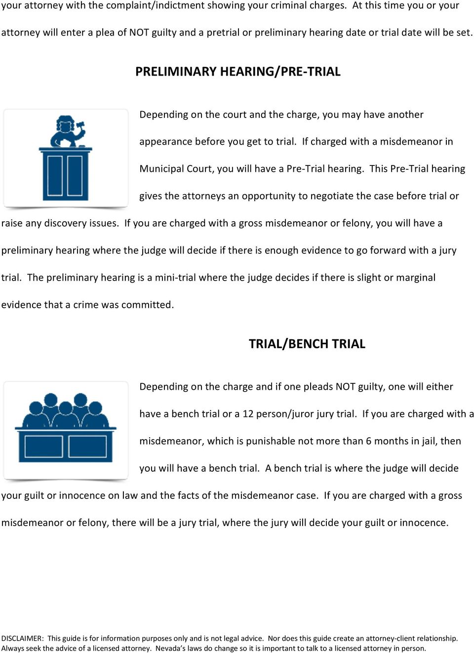PRELIMINARY HEARING/PRE- TRIAL Depending on the court and the charge, you may have another appearance before you get to trial.
