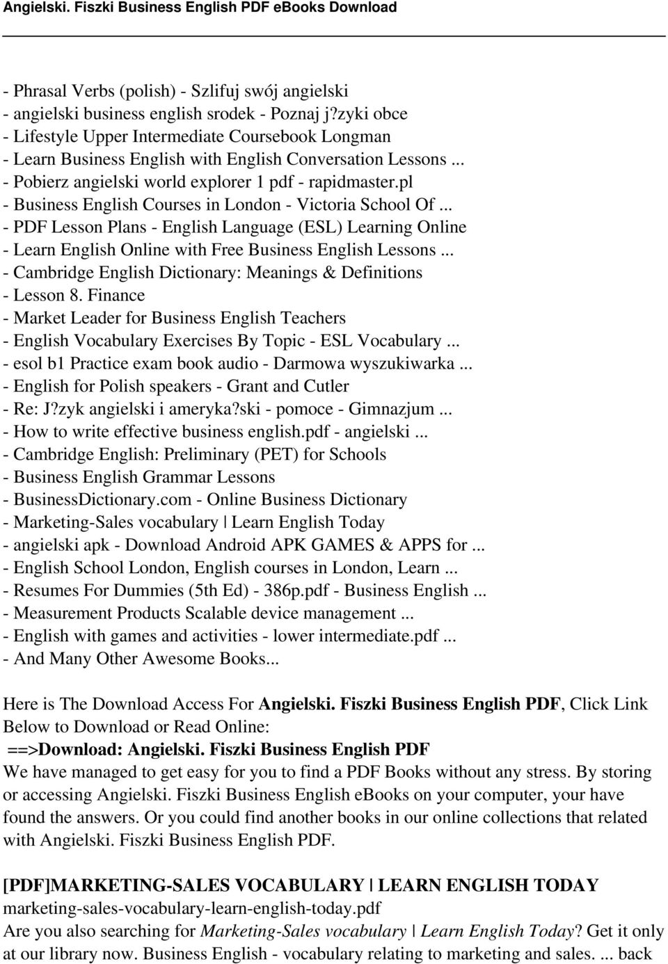 pl - Business English Courses in London - Victoria School Of... - PDF Lesson Plans - English Language (ESL) Learning Online - Learn English Online with Free Business English Lessons.