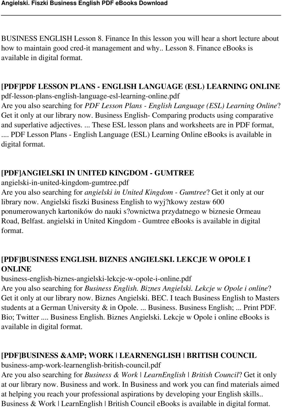 Business English- Comparing products using comparative and superlative adjectives.... These ESL lesson plans and worksheets are in PDF format,.